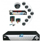 Pack video surveillance 8 cameras domes infrarouge