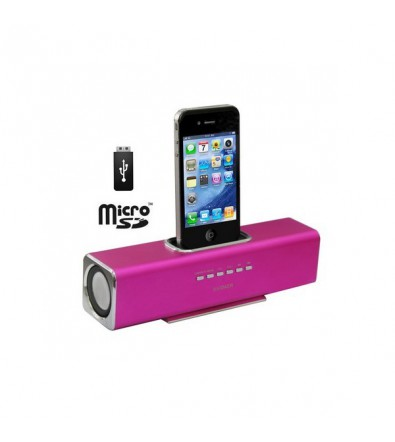 Enceinte dock station d'accueil iPod iPhone rose