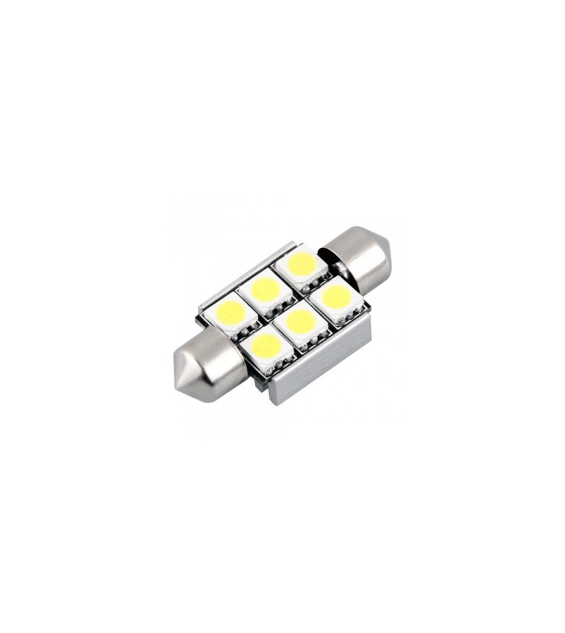 ampoule navette 6 leds blanche xenon smd canbus w5w 39mm. Black Bedroom Furniture Sets. Home Design Ideas